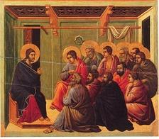 Jesus giving the Farewell Discourse to his eleven remaining disciples, from the Maesta by Duccio, 1308–1311.
