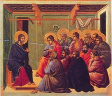 Jesus' Farewell Discourse to his eleven remaining disciples after the Last Supper, from the Maestà by Duccio.