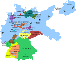 Prussia in the Weimar Republic shown in light blue.