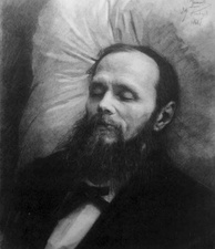 Dostoevsky on his bier, drawing by Ivan Kramskoi, 1881
