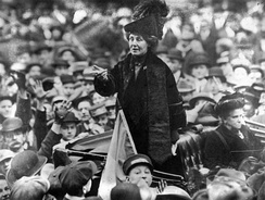 After selling her home, Emmeline Pankhurst, pictured in New York City in 1913, travelled constantly, giving speeches throughout Britain and the United States.