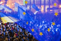 Pro-EU demonstration in Kiev, 27 November 2013, during the Euromaidan protests