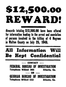 An FBI poster asking the public for information on the 1946 Georgia lynching at Moore's Ford Bridge in rural Georgia