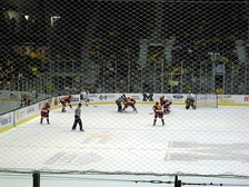 The Ferris State Bulldogs on a 5-on-3 power play against the Michigan Wolverines.