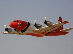 Aero Union P-3A Orion taking off from Fox Field, Lancaster, California, to fight the North Fire