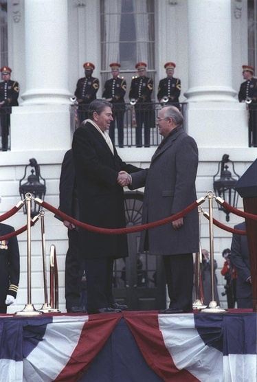 Reagan and Gorbachev at a State Arrival Ceremony, 1987