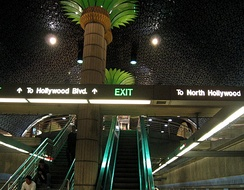 Interior decor and stairs to platform level of Hollywood and Vine station