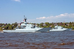 Two River class offshore patrol vessels of the Royal Navy