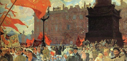 Boris Kustodiev Celebration Marking the Opening of the 2nd Congress of the Comintern on Uritsky Square in Petrograd on 19 June 1920. 1921. Russian Museum