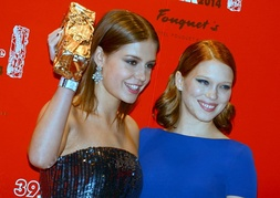 Exarchopoulos with her Blue Is the Warmest Colour co-star, Léa Seydoux, at the 2014 César Awards