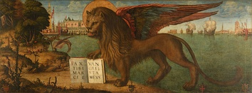 "Mark the Evangelist's symbol is the winged lion, the Lion of Saint Mark. Inscription: PAX TIBI MARCE EVANGELISTA MEVS (""peace be upon you, Mark, my evangelist""). The same lion is also symbol of Venice (on illustration)"