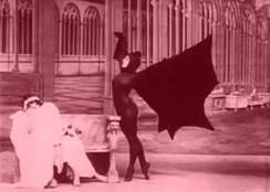 "Marfa Koutiloff (Stacia Napierkowska) dancing as a vampire bat in the second episode of Les Vampires entitled ""The Ring That Kills"""
