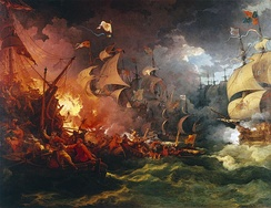 The Battle of Gravelines depicted in Defeat of the Spanish Armada, by Philippe-Jacques de Loutherbourg. English fireships cause havoc amongst the Spanish ships.
