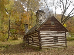 Lower Swedish Cabin, Drexel Hill, Upper Darby Township, Pennsylvania built ca. 1640-1650, may be one of the oldest log cabins in the United States.