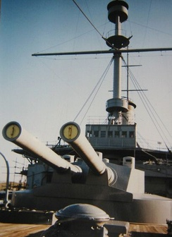 The heavy guns and forward barbette of Mikasa