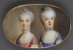 Archduchesses Maria Antonia in a pink dress and Maria Carolina in blue (watercolor on ivory by Antonio Pencini, 1764)