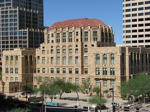 The Maricopa County Courthouse and Old Phoenix City Hall, also known as the County-City Administration Building, in 2013