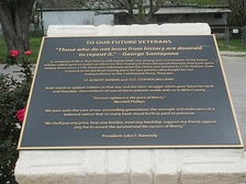 Along with Wendell Phillips and John F. Kennedy, Santayana is quoted on a military plaque at Veterans Memorial Park in Rhome, Texas