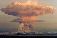 April 21, 1990 eruption cloud (to a height of about 9 km)[17] from Redoubt Volcano as viewed to the west from the Kenai Peninsula