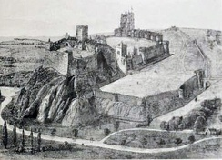 Victorian reconstruction of the likely appearance of the castle in the late medieval period