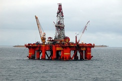 A drilling rig located in the North Sea