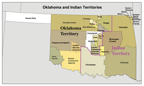 Oklahoma Territory and Indian Territory, along with No Man's Land (also known as the Oklahoma Panhandle). The division of the two territories is shown with a heavy purple line. Together, these three areas would become the State of Oklahoma in 1907.