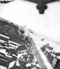 NZ Mosquitoes over Amiens during Operation Jericho, the jailbreak raid.