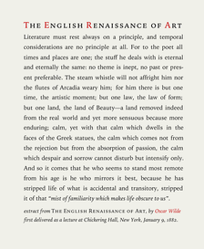 Text sample (an extract of the essay The Renaissance of English Art by Oscar Wilde) typeset in Iowan Old Style roman, italics and small caps, adjusted to approximately 10 words per line, with the typeface sized at 14 points on 1.4 x leading, with 0.2 points extra tracking.