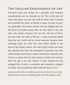 Text typeset example in Iowan Old Style roman, italics, and small caps, optimized at approximately ten words per line, typeface sized at 14 points on 1.4 × leading, with 0.2 points extra tracking using an extract of an essay by Oscar Wilde The English Renaissance of Art c. 1882