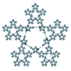 Fractal pentagram drawn with a vector iteration program