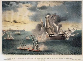 An artist's depiction of the Philadelphia aground off Tripoli, in October 1803