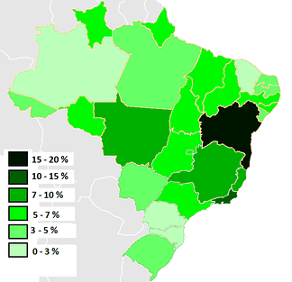 Percentage of black Brazilians per state, 2009.