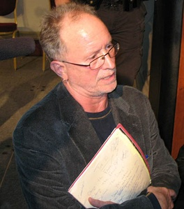 Bill Ayers speaks to audience members following a forum on education reform at Florida State University (January 12, 2009).
