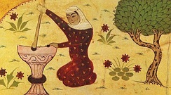 Depiction of Rabi'a grinding grain from a Persian dictionary