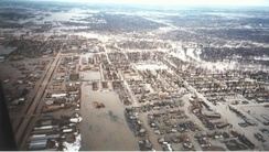 Aerial view of flood water throughout the town of Grand Forks, North Dakota