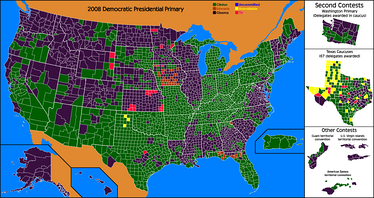 Popular vote, first-place results by county. Green for Clinton, purple for Obama, orange for Edwards. (First place may be a plurality, less than 50 percent).