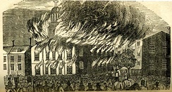 St. Augustine's Church on fire. Anti-Irish, anti-Catholic Nativist riots in Philadelphia in 1844.