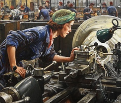 This painting depicts a woman examining her work on a lathe at a factory in Britain during World War II. Her eyes are not protected. Today, such practice would not be permitted in most industrialized countries that adhere to occupational health and safety standards for workers. In many countries, however, such standards are still either weak or nonexistent.