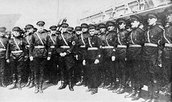 Anti–communist Russian Fascist Party Blackshirts, inspired by Italian Fascism, at Harbin Railway Station, 1934, waiting for arrival of their leader Konstantin Rodzaevsky