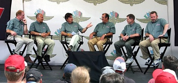 Speed's former Formula One commentators record a panel discussion at the 2006 United States Grand Prix at Indianapolis Motor Speedway (left to right – Derek Daly, Peter Windsor, Bob Varsha, David Hobbs, Sam Posey, Steve Matchett).