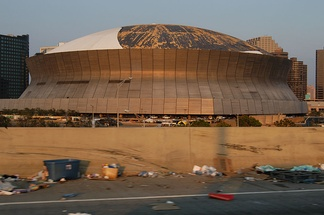 The Louisiana Superdome did not host the New Orleans Saints during the 2005 season, due in part to damage seen here.