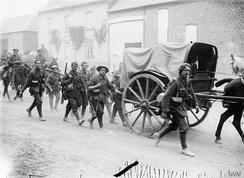 Men of the 10th (Service) Battalion, East Yorkshire Regiment of the 31st Division marching to the front line, 28 June 1916.