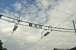 Overhead lines are used to provide power for most electric trams. Overhead wires are used for both trams and light rail systems.