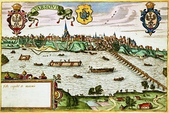 Vistula river in Warsaw near the end of the 16th century. The right side shows the Sigismund Augustus bridge built 1568–1573 by Erazm Cziotko (c. 500 m (1,600 ft) long).[28]