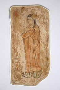 Painting of a woman from a Nestorian Christian Church, Khocho (Gaochang), early period of Chinese Tang rule, 602–654 AD