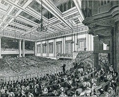 A meeting of the Anti-Corn Law League in Exeter Hall in 1846