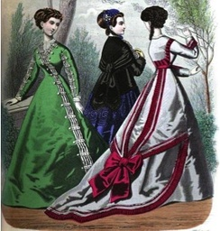 1860s dress featuring a train