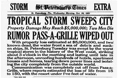 St. Petersburg Times headline reporting Pass-a-Grille devastation