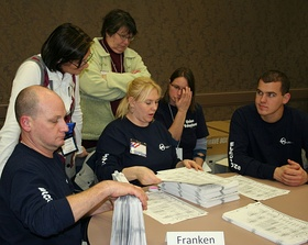 Recounting optical-scan ballots by hand in the United States Senate election in Minnesota, 2008.