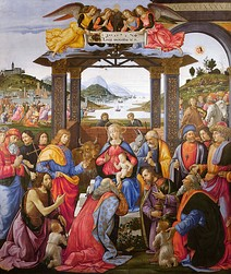 The Madonna and Child adored by St Zenobius and St Justus, (c. 1483), Uffizi, Florence